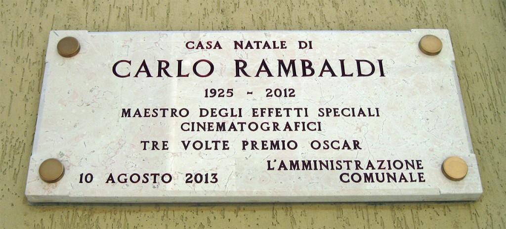 La targa della casa natale di Carlo Rambaldi